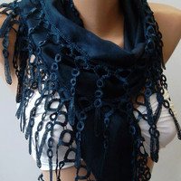 Dark Blue - pashmina -Shawl / Scarf with Lacy Edge.