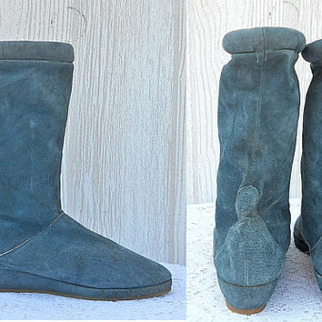 Teal Boots Womens Fall Boots / Womens Winter Boots Wedge Heel Boots 70s / Boots 80s Boots Suede Boots Indie Boots Leather Boots 8 Warm Boots