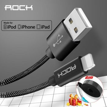 ROCK Metal MFI Certified Lightning to USB Cable For iPhone 5 SE 6 6s 7 plus iPad Nylon Braid Fibre fast charging iPhone Cable