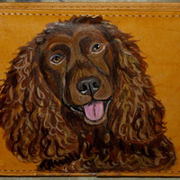 American Water Spaniel Dog Painted Men Leather Wallet