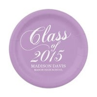 Modern Solid Lilac Purple Graduation Paper Plates 7 Inch Paper Plate