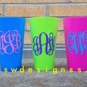 Personalized Cups, Plastic Tumblers, Bachelorette Weekend, Bridesmaids, Gifts,Set of 4