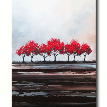CUSTOM Original Art Abstract Painting Red Trees Large Textured Modern Tree Landscape