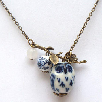 Antiqued Brass Leaf Jade Porcelain Owl Necklace by gemandmetal