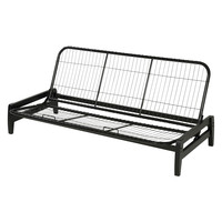 Full Size Simple Black Metal Wood Futon Frame