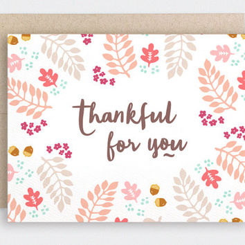 Thankful For You Card - Autumn Thanksgiving Card - Fall Leaves - Recycled Card