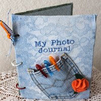 orange and blue photo journal: jeans, notebook, denim, pocket,