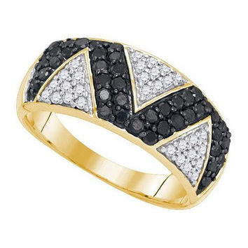 10K Yellow-gold 0.90CTW BLACK DIAMOND MICRO-PAVE RING