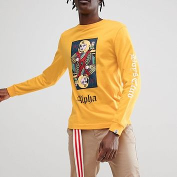 Billionaire Boys Club Long Sleeve T-Shirt With Playing Card Logo In Yellow at asos.com