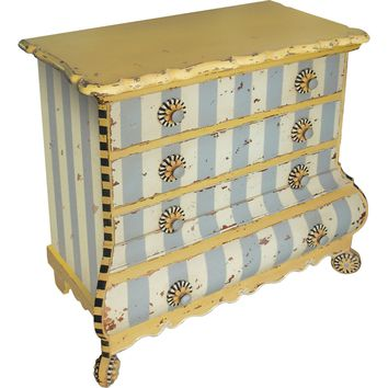 Pinwheel Chest 4 Drawers Painted Stripes
