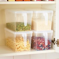 Pantry Storage Bins Large Clear Handled Organization Snap On Lid Staples