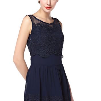YAN & LEI Women's Floral Lace Sleeveless Dress with Mesh Neck