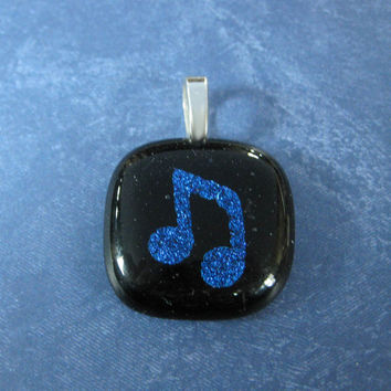 Blue Music Note Pendant, Fused Glass Jewelry, Musical Jewelry - Acadia - 4512 -3