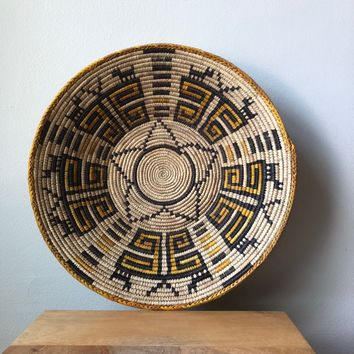 "Natural & Brown African Basket 13"" - 15"""