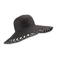 Eric Javits Maribel Cutout-Wide-Brim Hat, Black