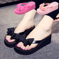 Ladies Sweet Bowknot Women's Sandals Indoor Outdoor Flip Flops Slippers Female Home 2017 Summer Sandals For Women Shoes Wedges