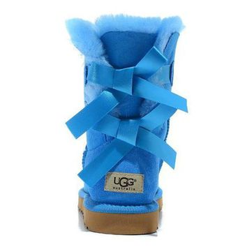 UGG Women Bow Fur Leather Boots In Tube Boots Shoes-4