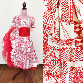 1950s Dress / VINTAGE / 50s / Hawaiian Tiki Print / Novelty print dress / Red / Matching Crinoline