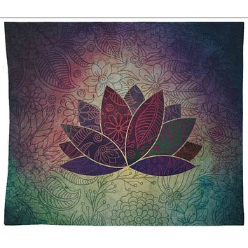 Lotus Tapestry Wall Hanging Chakra Bohemian Decor  Neutral Colors