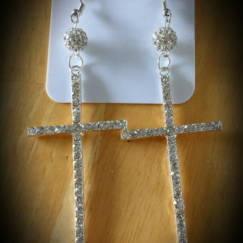 Basketball Wives/ Love and Hip Hop Inspired Cross Dangle Drop Earrings