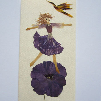 "Handmade unique greeting card ""Sense of freedom"" - Decorated with dried pressed flowers and herbs - Original art collage."