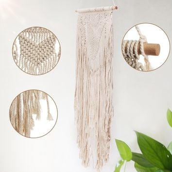 KiWarm 2018 117X36CM Handmade Macrame Cord Decorative Cord Rope Macrame Tapestry Boho Home Decor DIY Wall Hanging