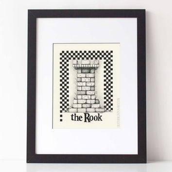 THE ROOK,  Chess Series: Art print, black and white pen and ink drawing, ink illustration, pen drawing 8x10 Limited Edition fine art print