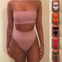 Sexy strapless pure color two piece bikini swimsuit