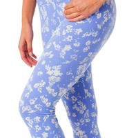 Organic Cotton Cropped Leggings - Chambray Floral (Small only)