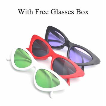 MINCL/cat eye vintage sunglasses women top fashion white  sexy cat eye sunglasses for women black red lens UV400 with box FML