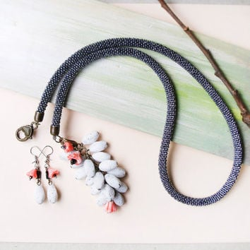 Bohemian bead crochet necklace, rope, long lariat with glass beaded pendant and earrings, black white salmon, with flowers, boho jewelry set