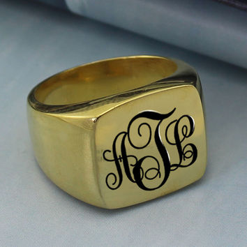 Personalized Monogram Square Ring Gold Initials Ring Engraved Monogrammed Name Ring Unique Vine Monogram Style Best Gift