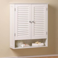 Coastal Living-Bathroom Wall Cabinet-White Shutter Doors