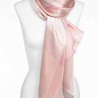 One-nice™ new BURBERRY Core Oblong Mega Check Mulberry Silk Scarf in Pale Rhubarb 75x 28