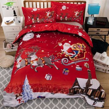 3D Kids Cartoon Bedding Sets Red Merry Christmas Gift Santa Claus Bedclothes Deer Quilt Cover Pillowcases Twin Full Queen 3 pcs