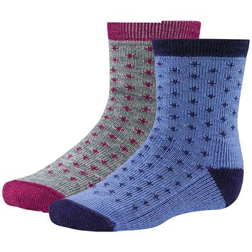 Smartwool Toddler Dot/Spot Stripe Sock Set - 3T - Berry / Polar Purple
