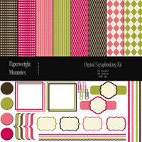 Digital Scrapbook Kit - Candy - digital scrapbooking kit - digital papers and clipart - pink, green & brown - Commercial Use