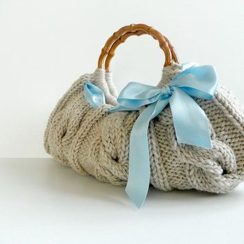 Knit handbag Purse, Fall autumn women fashion, Small NzLbags Knitted Handbag - Beige Bag blue ribbon bow, christmas gift idea, natural