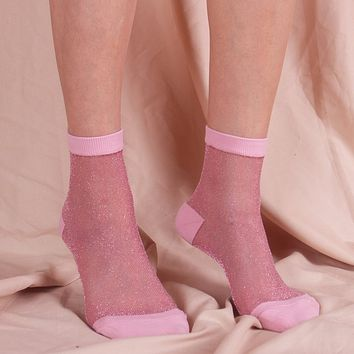 Gia Sheer Mesh Sock | Pink