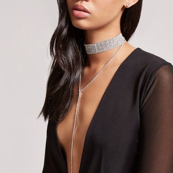 Choker & Drop Chain Necklace Set