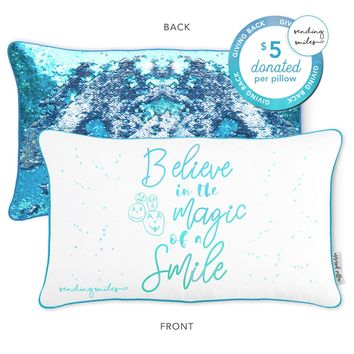 Sending Smiles Mermaid Pillow with Lake Blue & Silver Reversible Sequins