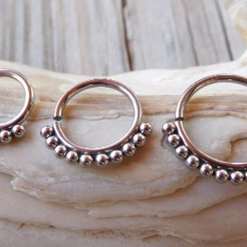 Bead Septum Ring,Tragus Piercing Jewelry,Helix,Cartilage,Scaffold,Upper Ear,Segment Ring,Lip Ring,Lobe,Endless Hoop Earring Set of 3
