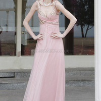 A-line Straps Tulle Floor-length Pink Beading Evening Dress at dressestore.co.uk