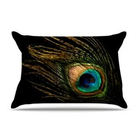 "Alison Coxon ""Peacock Black"" Pillow Case"
