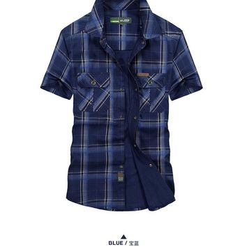 Hot sale Men Large size M-5XL Tops Short sleeve Chemise Homme 100% Cotton Outdoor Sports Camping Climbing Tactics Army shirts