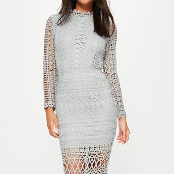 Missguided - Grey High Neck Structured Lace Midi Dress