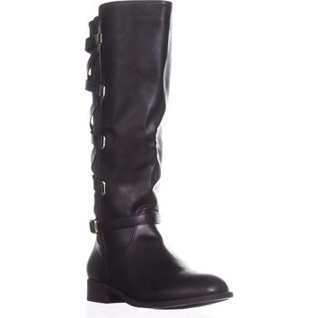 TS35 Veronika Wide Calf Riding Boots, Black, 7 US