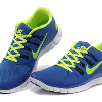 Nike Free 5.0+ Womens Blue Fluorescence Green Running Shoes - $69.99