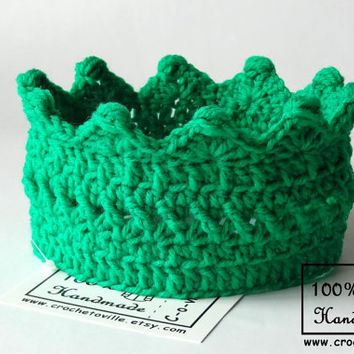 Princess or Prince Crown, Hot Green Crochet Headband, Baby Crown for Dress Up, Birthday accessory, Photo prop, Made in USA