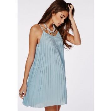 Missguided - Chiffon Pleated Swing Dress Powder Blue